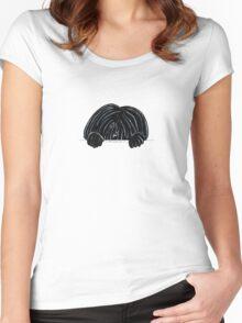 Peeking Black Puli Women's Fitted Scoop T-Shirt