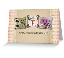 Shabby chic vintage sewing notions t-shirt Greeting Card