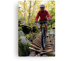 Biking Down the Bridge Canvas Print