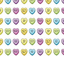 Ow my hate snarky pastel candy hearts  by killercute