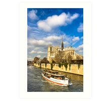Boats on the Seine Passing Notre Dame Art Print