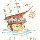 All at Sea - nautical sailing ship waves beach by Jaime Hernandez