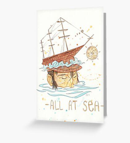 All at Sea - nautical sailing ship waves beach Greeting Card