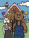 Teddy Bear And Bunny - Abearican Gothic by Brett Gilbert
