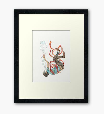 Burdened - sinking swimming ribbon  Framed Print