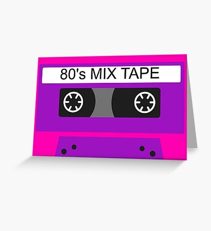 Neon 80s mix tape cassette Greeting Card