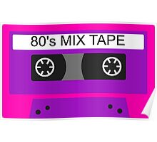 Neon 80s mix tape cassette Poster
