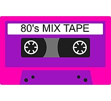 Neon 80s mix tape cassette Photographic Print