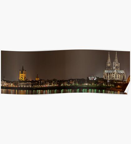 Cologne panorama by night Poster