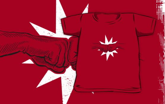 fist bump t-shirt by Richard Morden