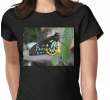 Colorful Butterfly on Leaf  Womens Fitted T-Shirt