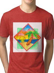 Miami Beach 80s Palm Tree Tri-blend T-Shirt
