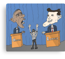 Obama et Romney débat en caricature Canvas Print