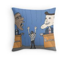 Obama et Romney débat en caricature Throw Pillow