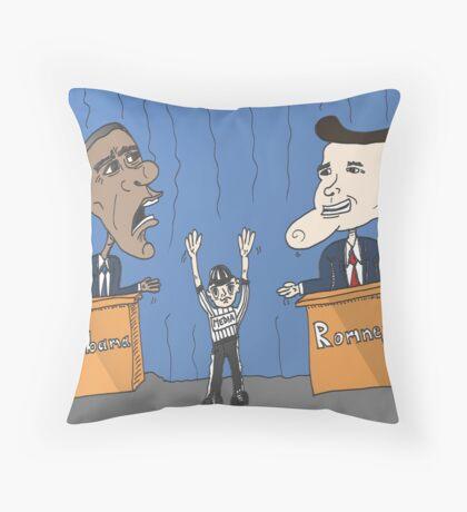 Obama et Romney débat en caricature Throw Pillow