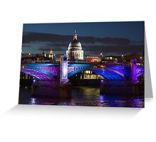 Southwark bridge and St Pauls Cathedral Greeting Card