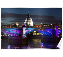 Southwark bridge and St Pauls Cathedral Poster