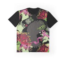 Flying Tuis, Pink Ribbon and Pohutukawas Graphic T-Shirt