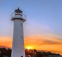 Sunset on the Lighthouse - Cleveland Qld Australia by Beth  Wode