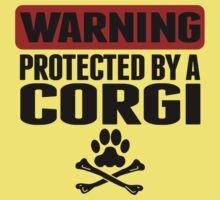 Warning Protected By A Corgi Kids Tee
