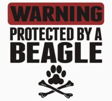 Warning Protected By A Beagle Kids Tee
