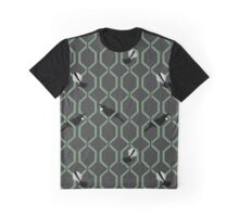 Tui and Fantail on a Lattice Graphic T-Shirt