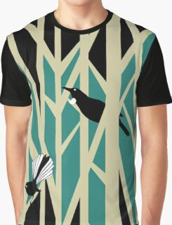 Tui and Fantail on Trees Graphic T-Shirt