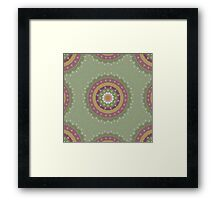 Green Pink Yellow Mandala Design Framed Print