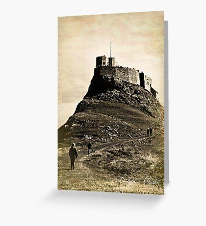 Vintage Lindisfarne Castle. Greeting Card