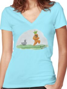 If Vegetables Could Run Women's Fitted V-Neck T-Shirt