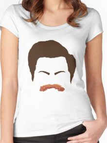 Ron Swanson Bacon Mustache  Women's Fitted Scoop T-Shirt