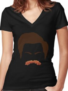 Ron Swanson Bacon Mustache  Women's Fitted V-Neck T-Shirt