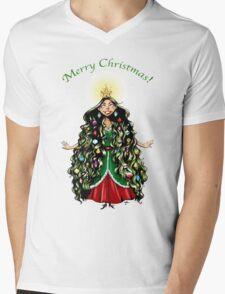 Christmas Tree Girl Mens V-Neck T-Shirt