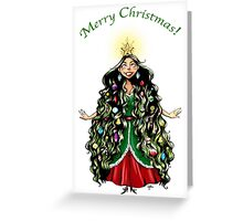 Christmas Tree Girl Greeting Card