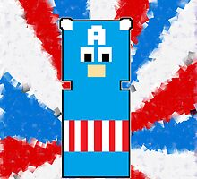8 Bit Captain America iPhone Case or Cards by FandomPeasantry