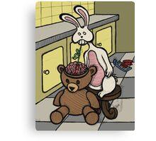 Teddy Bear And Bunny - Slushie Canvas Print