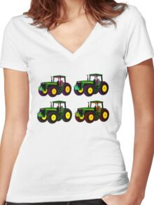 4 tractor fun Women's Fitted V-Neck T-Shirt