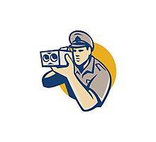 policeman with police speed camera retro Photographic Print