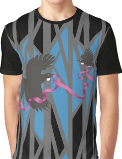 Flying Tui in Forest with Pink Ribbon Graphic T-Shirt
