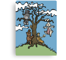 Teddy Bear And Bunny - Their Special Tree Canvas Print