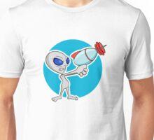 Little grey guy with a big ray gun Unisex T-Shirt