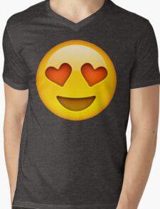 Heart Eye Emoji Mens V-Neck T-Shirt