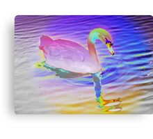 Swan mirror in pastels Canvas Print