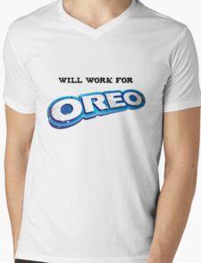 Will work for Oreo Mens V-Neck T-Shirt
