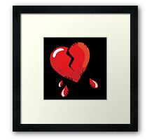 Broken heart cartoon Framed Print