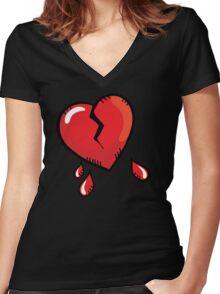Broken heart cartoon Women's Fitted V-Neck T-Shirt