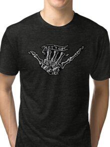 Skull hand fingers Tri-blend T-Shirt