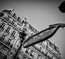 Travel BW - Paris Metro Entrance by lesslinear