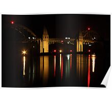 Siuslaw River Bridge Reflections Poster