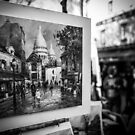 Travel BW - Paris Painting by lesslinear